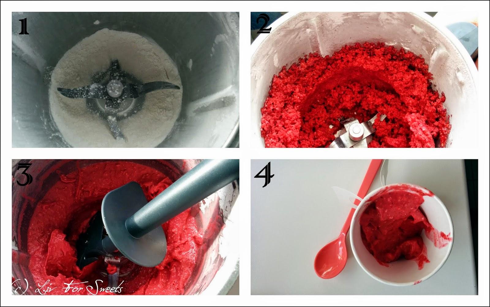 Zucker wird im Thermomix TM31 zu Puderzucker gemahlen, gefrorene Himbeeren werden gehackt, Sahne kommt dazu, Eis ist fertig