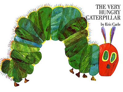 The very hungry caterpillar by eric carle helped to show how time is