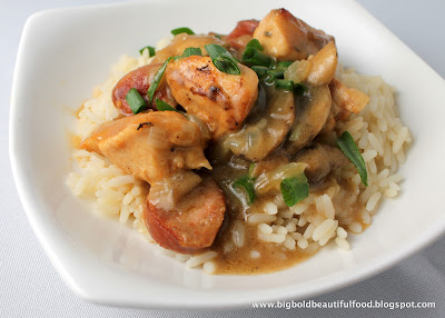 mardi gras: chicken and andouille sausage casserole