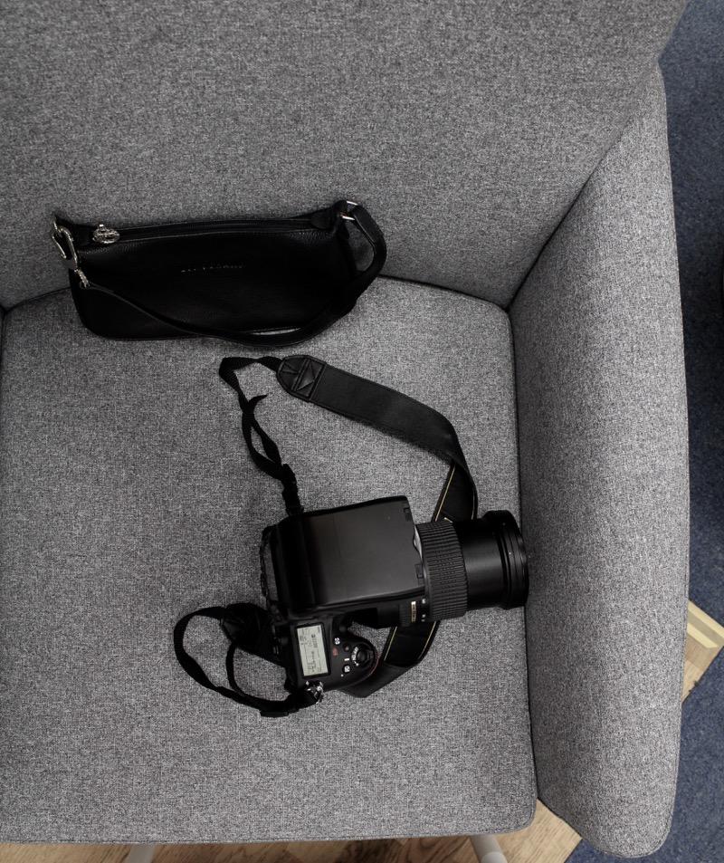 kamera ja käsilaukku