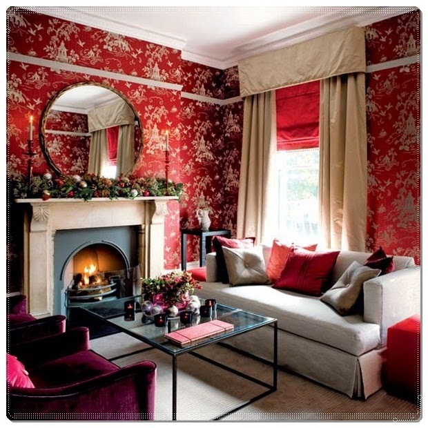 Living Room Design Improvement With Wallpaper Interior Design And