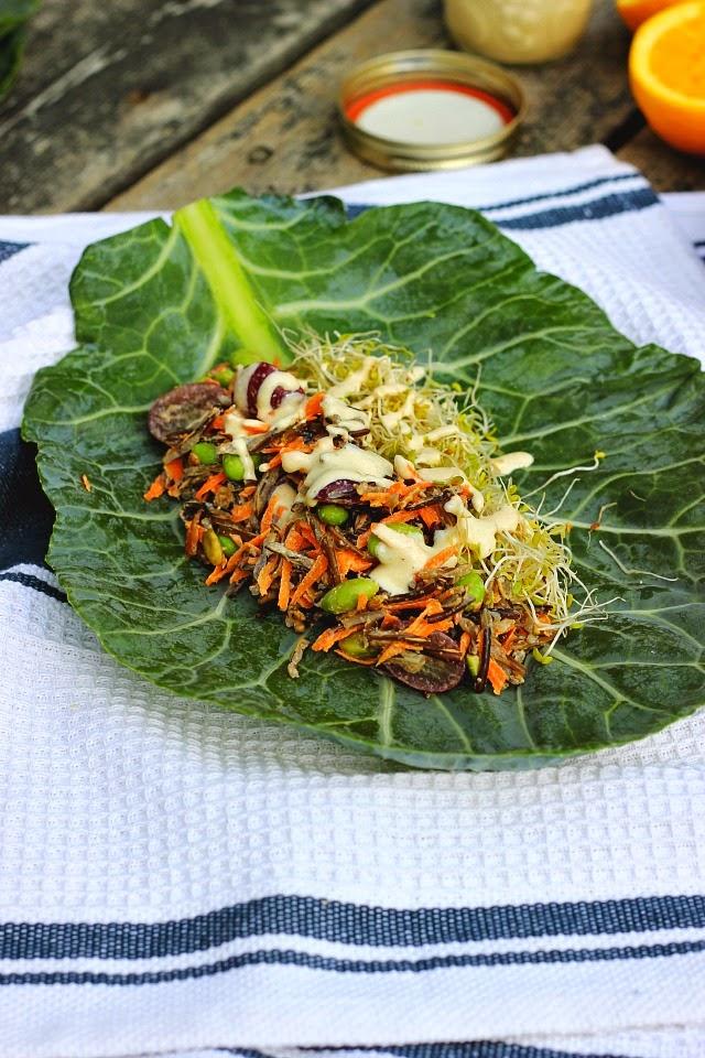 Collard Wraps with Wild Rice Salad + Orange Tahini Dressing ⎮ happy hearted kitchen