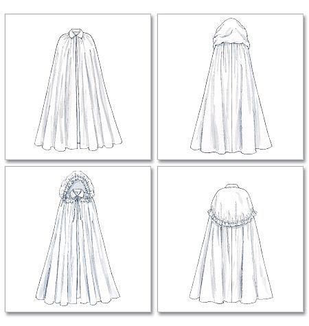 capulet costume hooded cloak cape pattern sm med. Black Bedroom Furniture Sets. Home Design Ideas