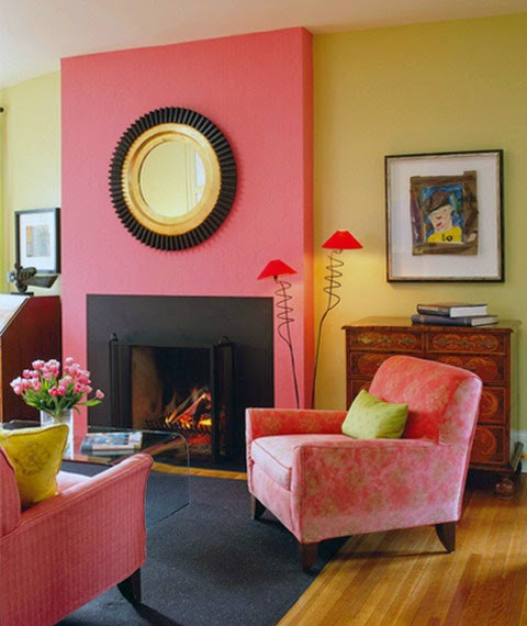 Eye for design decorating with the pink yellow color for Living room yellow color