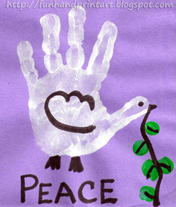 Idea footprint art martin luther king handprint dove for Peace crafts for sunday school