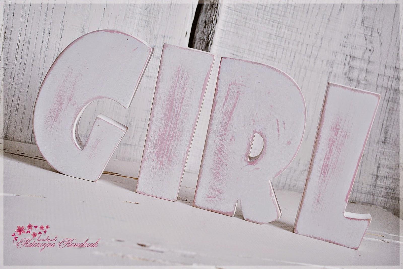 Drewniany Napis girl sesja zdjęciowa shabby chic decoupage
