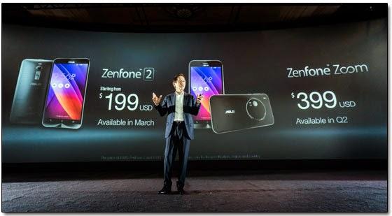 Asus представила на выставке CES-2015 в Лас-Вегасе смартфоны ZenFone Zoom и ZenFone 2.