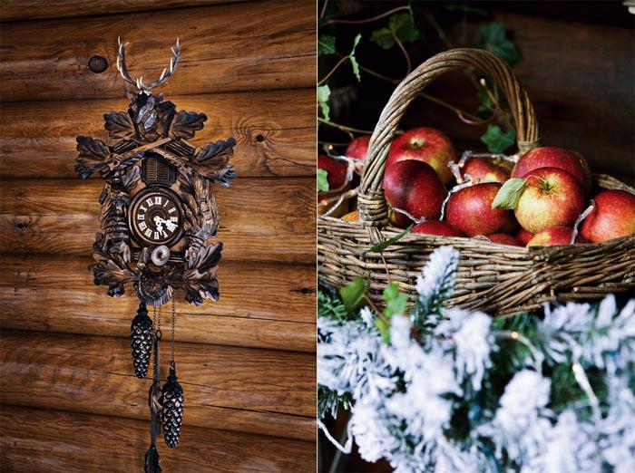 decoracion navidad  casa de campo nordica-reloj cucu-manzanas