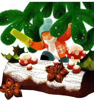 christmas illustration by french illustrator Annette Marnat of a buche de noel