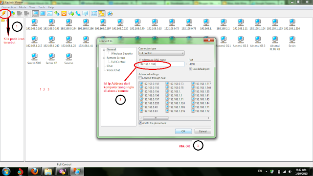 Mengendalikan komputer dalam 1 network dengan menggunakan Radmin, Remote access