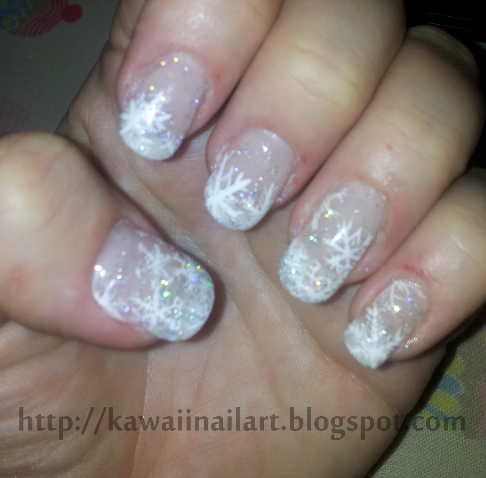 Kawaii Nail Art: Snowflake nail art