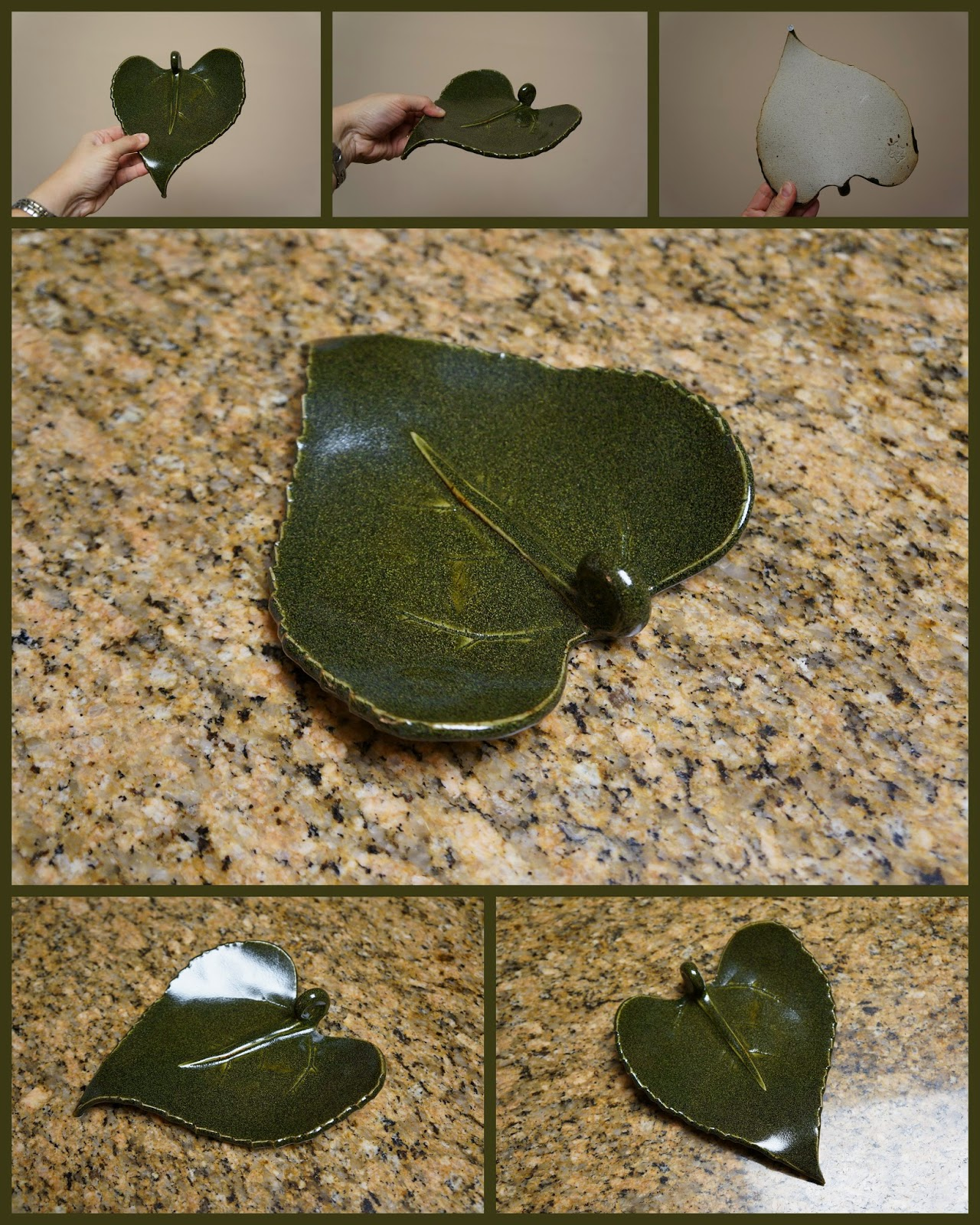 Unique pottery ceramic dish made from real sunflower leaf.