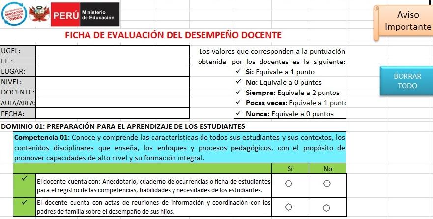 Ficha de desempe o laboral 2015 para el docente en aula for Docentes en el exterior 2016