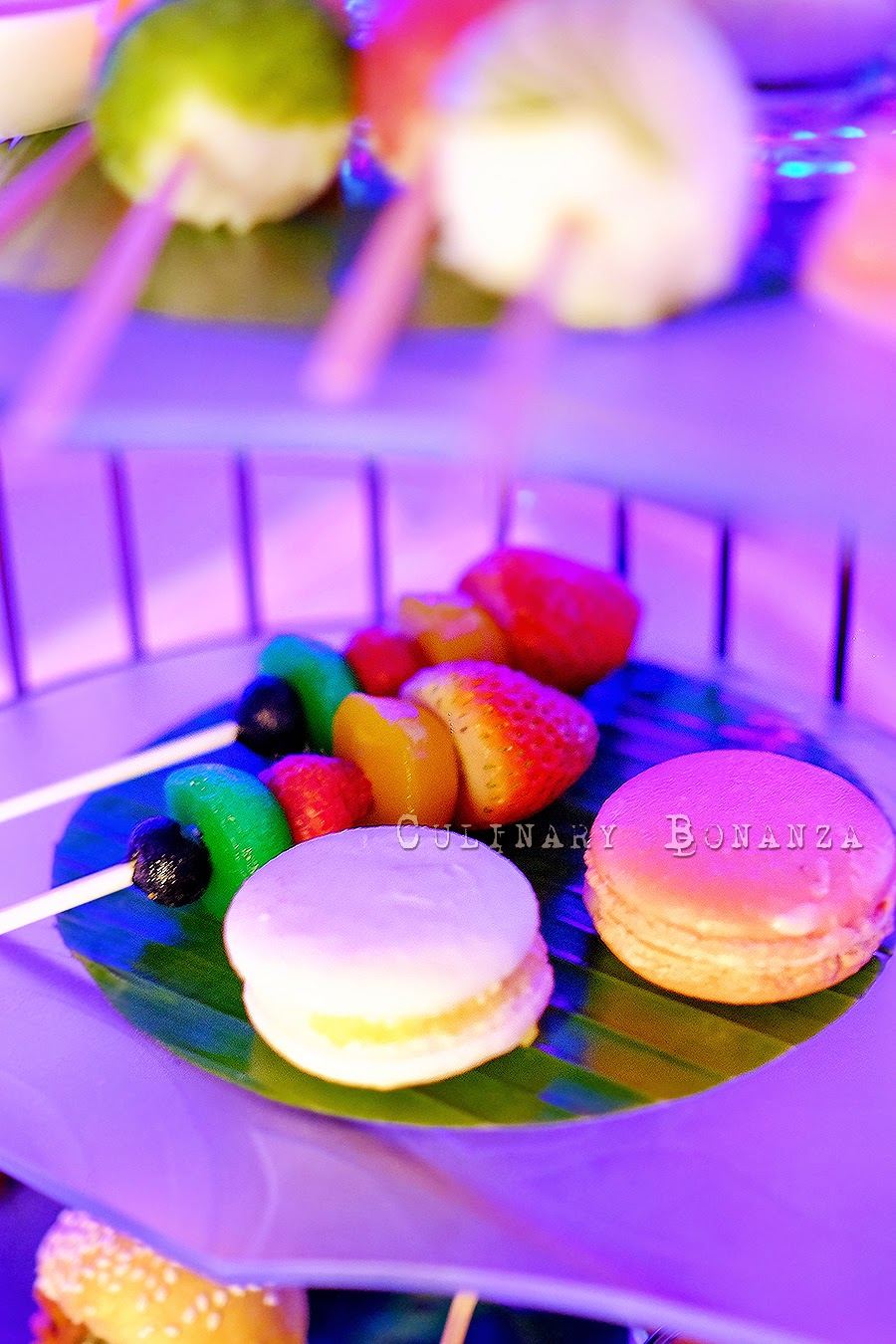 macaroon & fruits on sticks