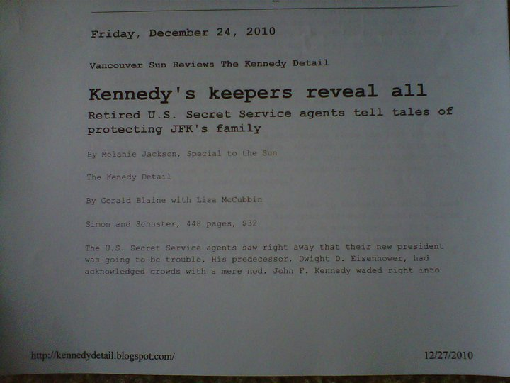"Part 1: Mention of my work in the Vancouver Sun (Canada) review of ""The Kennedy Detail"""