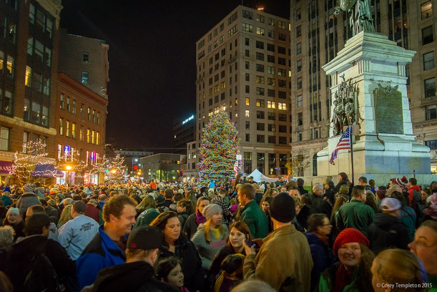 Portland, Maine USA November 2015 holidays Christmas tree lighting in Monument Square at night. Photo by Corey Templeton.