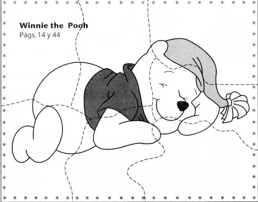 Desenhos Preto e Branco Quebra cabeça do ursinho pooh e outros para recortar Colorir
