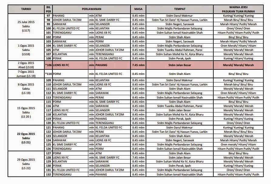 Jadual Perlawanan Bola Sepak Liga Super Malaysia 2015