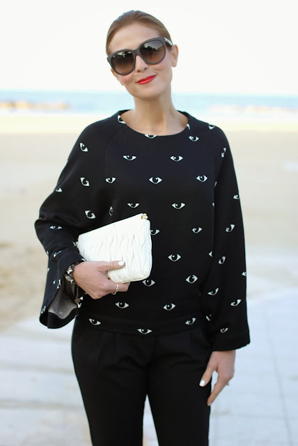 Kenzo eye print kimono sweatshirt, felpa stampa occhi, Miu Miu clutch, Loriblu pumps, Fashion and Cookies, fashion blogger
