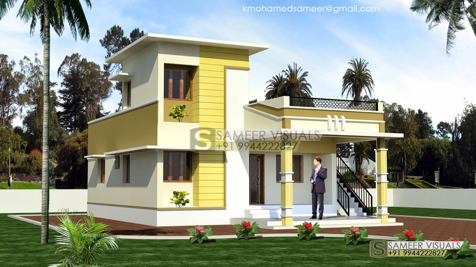 Ground Floor Side Elevation : Modern house with portico