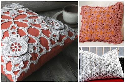 Almofadas de crochê  com tecido