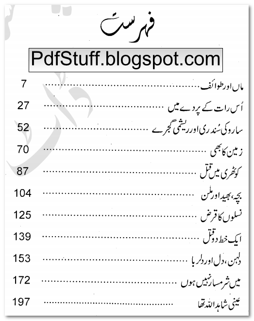 Contents of Urdu novel Dulhan Dil aur Dilruba by Agha Riaz Ahmed