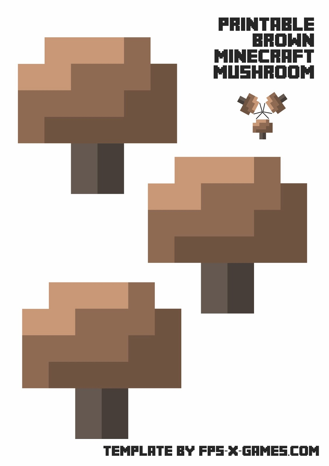 Printable papercraft template minecraft mushroom