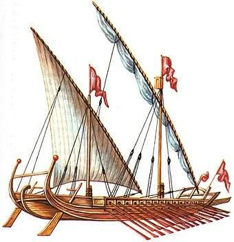 Gambar Kapal Layar Dromon banyak dayung