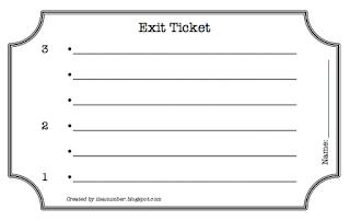 i is a number 321 exit ticket. Black Bedroom Furniture Sets. Home Design Ideas
