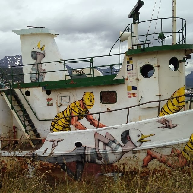 Street Art Duo Seth and JAZ paint a new boat in the land of fire aka Ushuaia, Argentina.