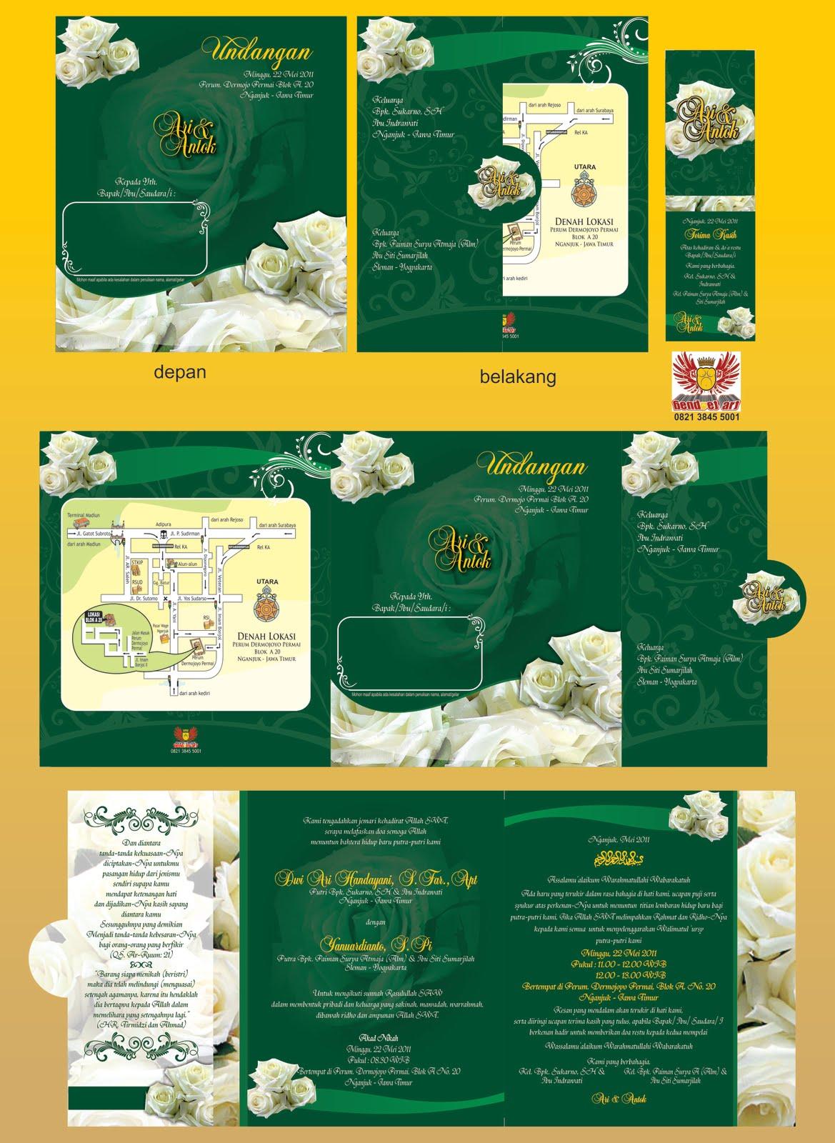 Undangan dengan motif bunga mawar putih, dengan bacground hijau