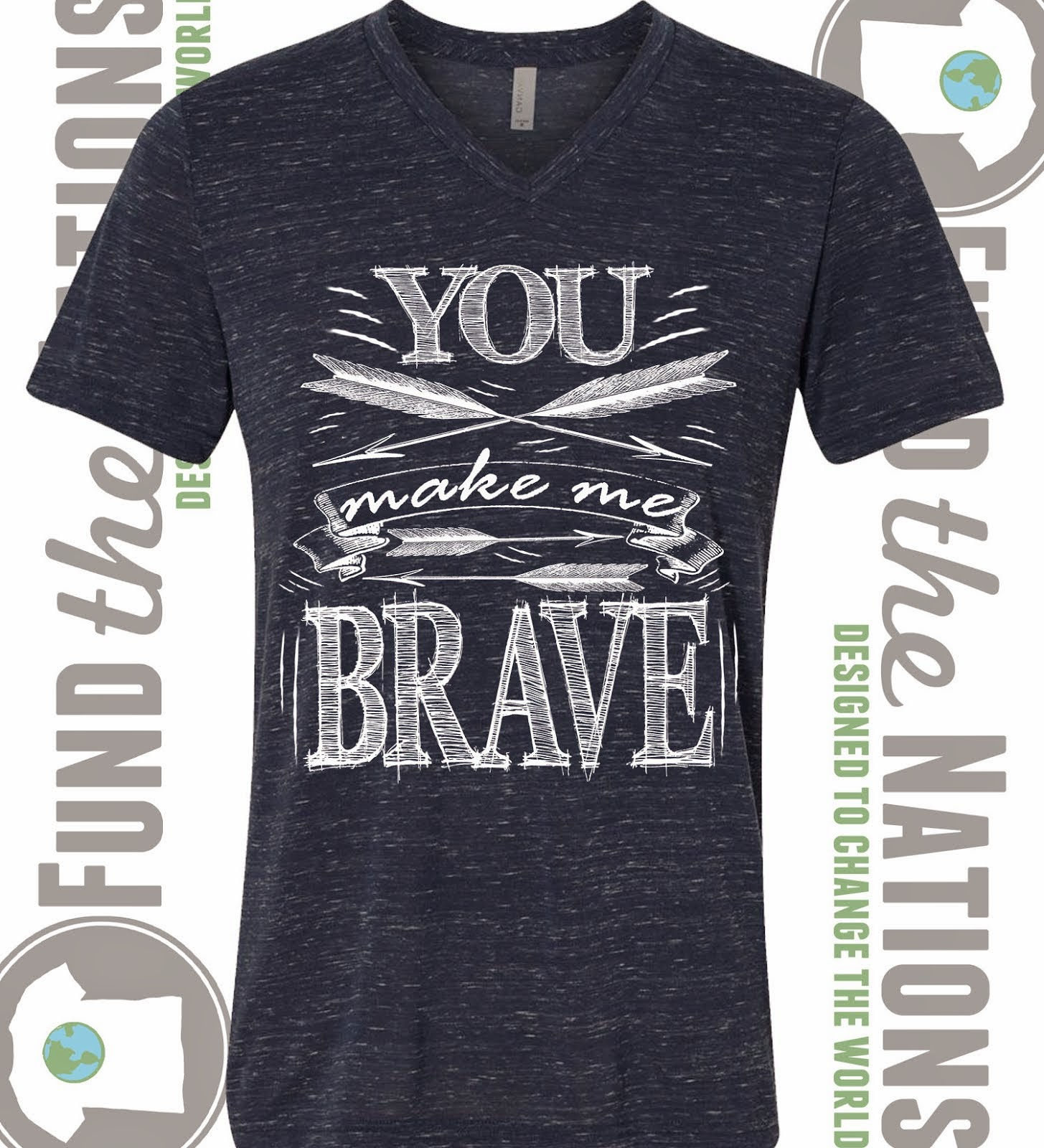 You Make Me Brave Navy V-Neck