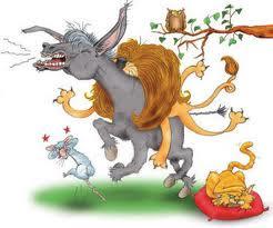 Fabula el León la Zorra y el Asno