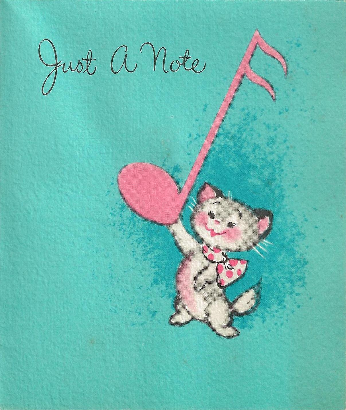 Vintage Musical Cat Birthday Card