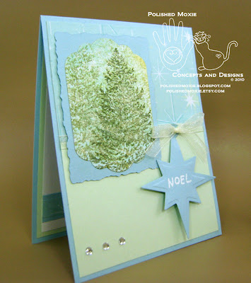 Picture of right angle view of my handmade evergreen trees Christmas card with a Noel tag