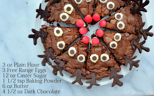 Ingredients are 3 oz Plain Flour, 3 Eggs, 12 oz Caster Sugar, 1 1/2 tsp Baking Powder, 6 oz Butter and 4 1/2 oz Dark Chocolate