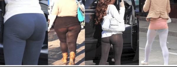 beau cul en legging salope en jupe courte