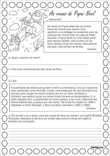 Leitura de pequeno texto informativo sobre renas do Papai Noel