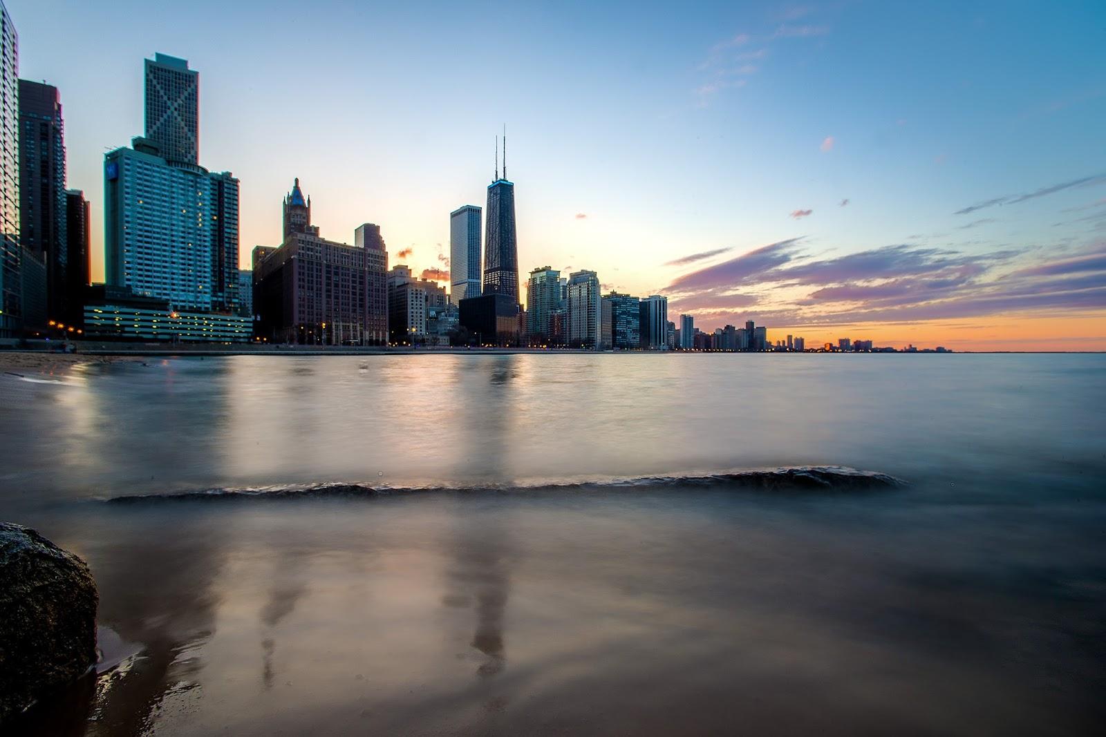 Chicago Sunset Skyline Photo Print