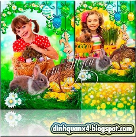 Children frame for photo and collage Easter - Happiness shines in the eyes