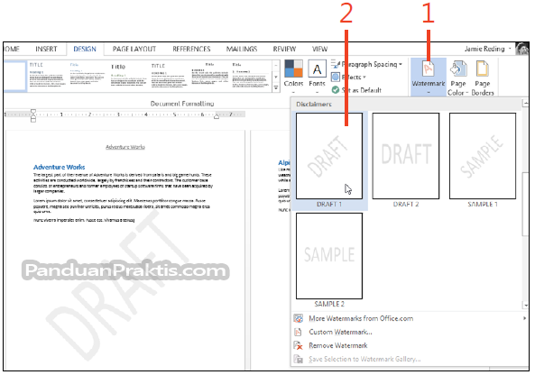 Cara memasukkan dan membuat watermark di word 2013 gambar cara membuat watermark di word ccuart Images