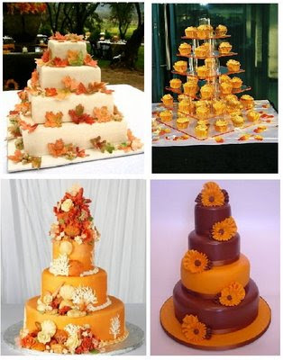 Orange Wedding Cakes With Accesories