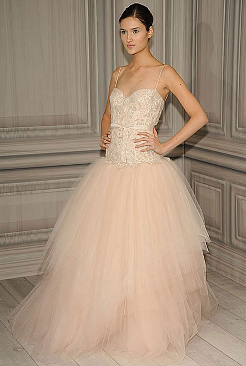 Images Of Blush Wedding Dresses : Wedding dress blush pink gown monique lhuillier amber