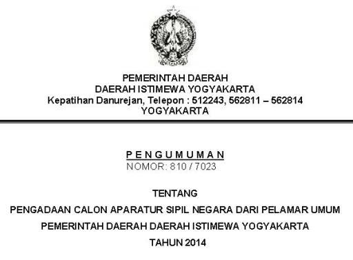 Lowongan CPNS 2014 Membutuhkan 4 Guru di Provinsi Yogyakarta