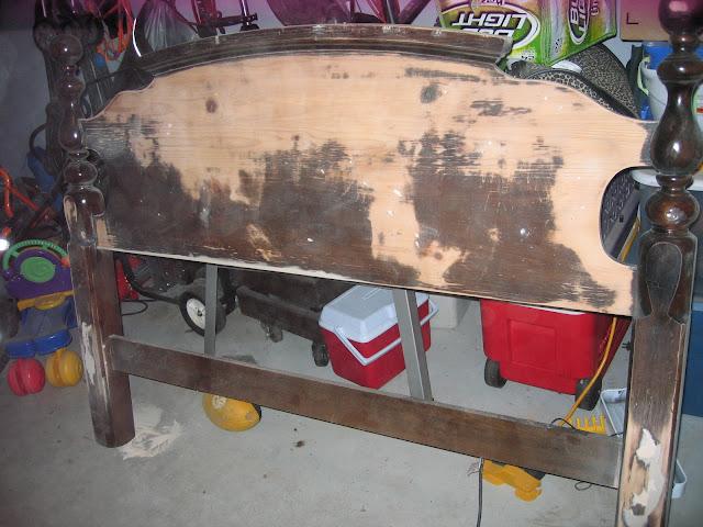 ugly brown queen headboard before