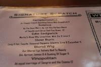 Cocktail menu at Boston Chops, Boston, Mass.