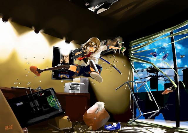 Girl Rifle Katana Grenade Girl Female Anime HD Wallpaper Desktop PC Background 2103