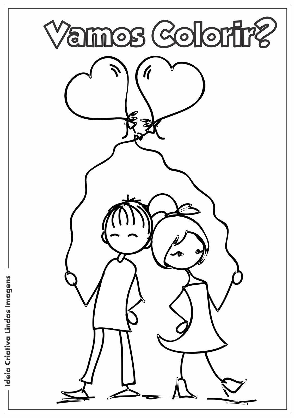 Dia dos Namorados desenho para colorir