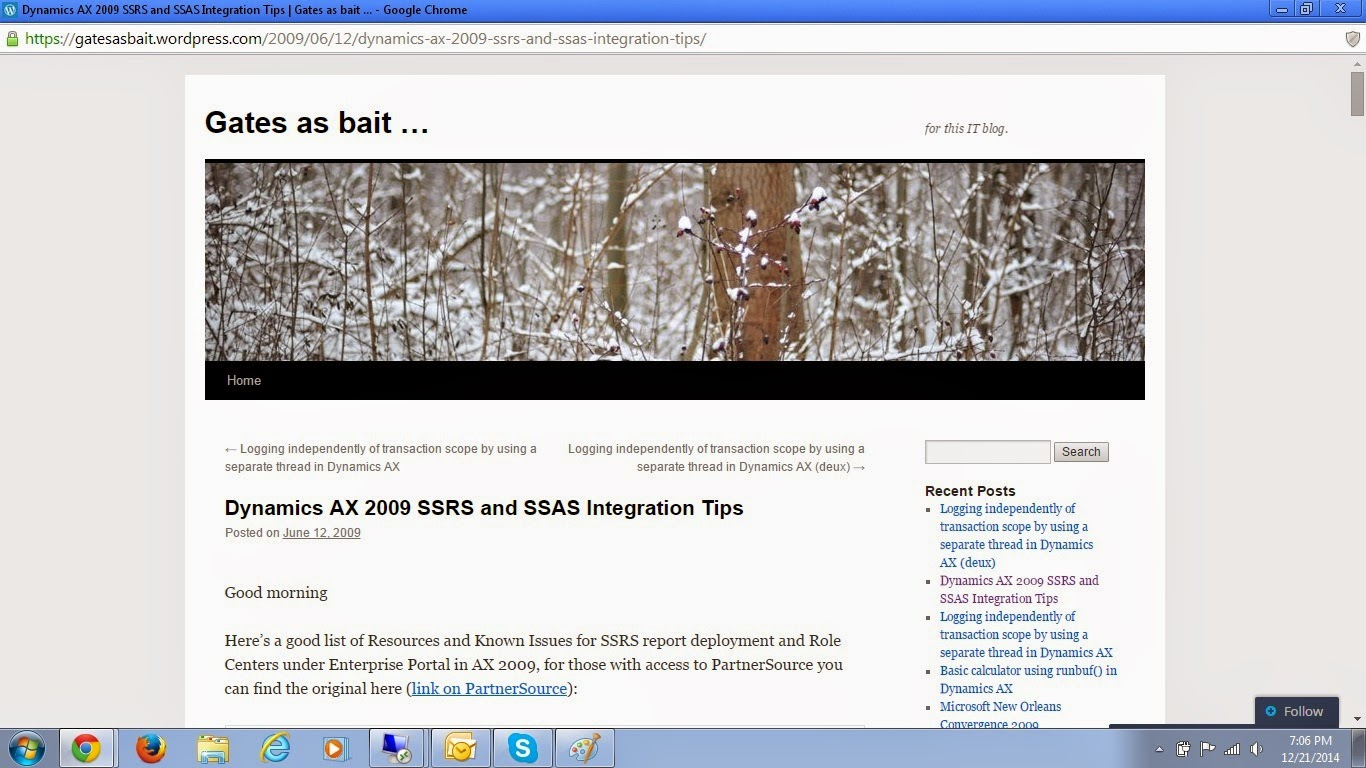 AX 2009 SSRS and SSAS Integration Tips
