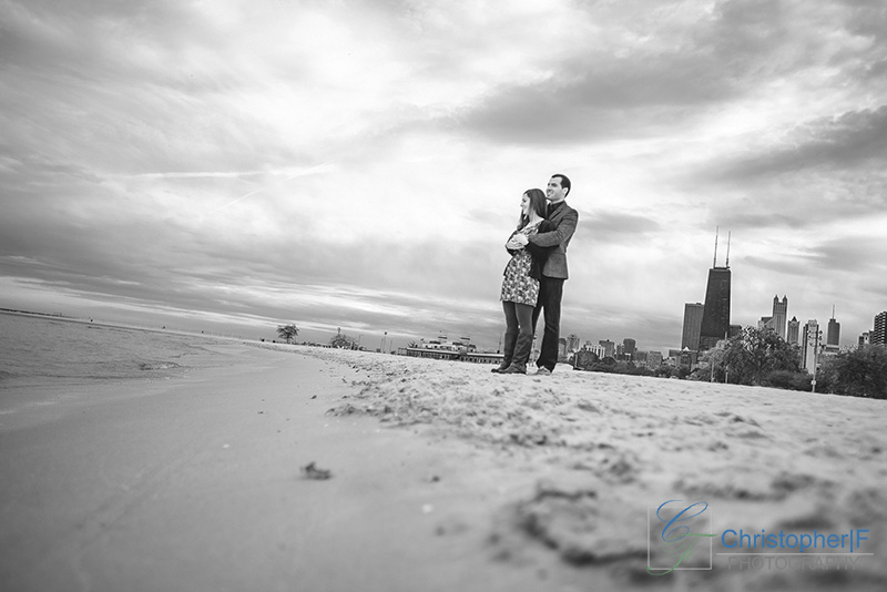 Chicago Beach Engagement Photo